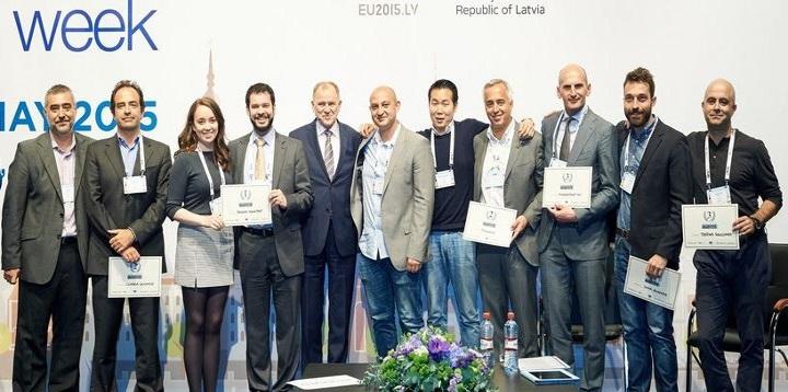 Nuno Arantes-Oliveira entre  os vencedores do EU SME eHealth Competition (segundo a contar da esquerda)_UE (DR)