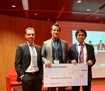 Stephan Morais (Caixa Capital) César Duarte (CTO da Scraim) e Pedro Henriques (CEO da Scraim)
